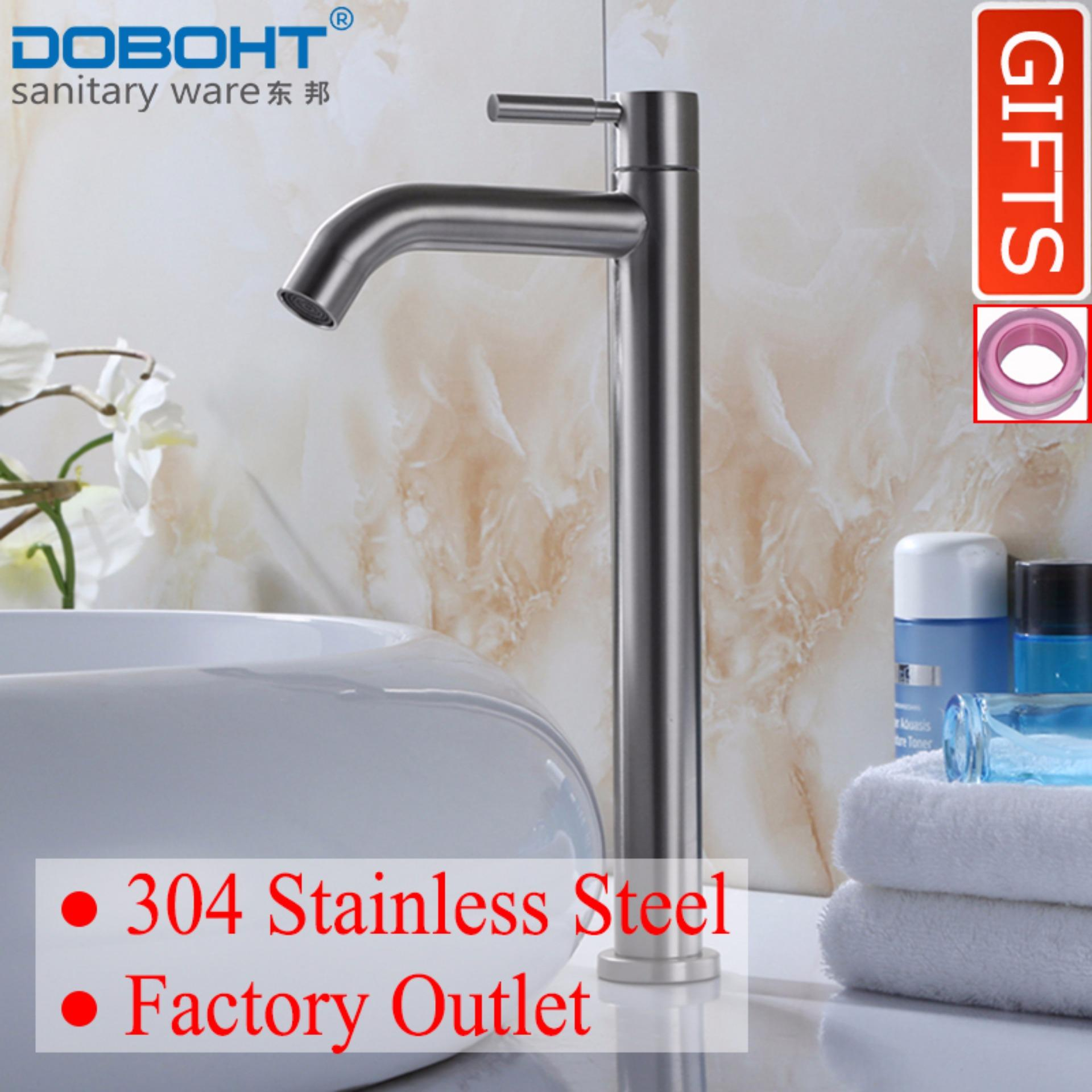 Buy Doboht Stainless Steel Flexible Bathroom Sink Basin Single Lever Cold Tap Basin Faucet Nickle Intl Online