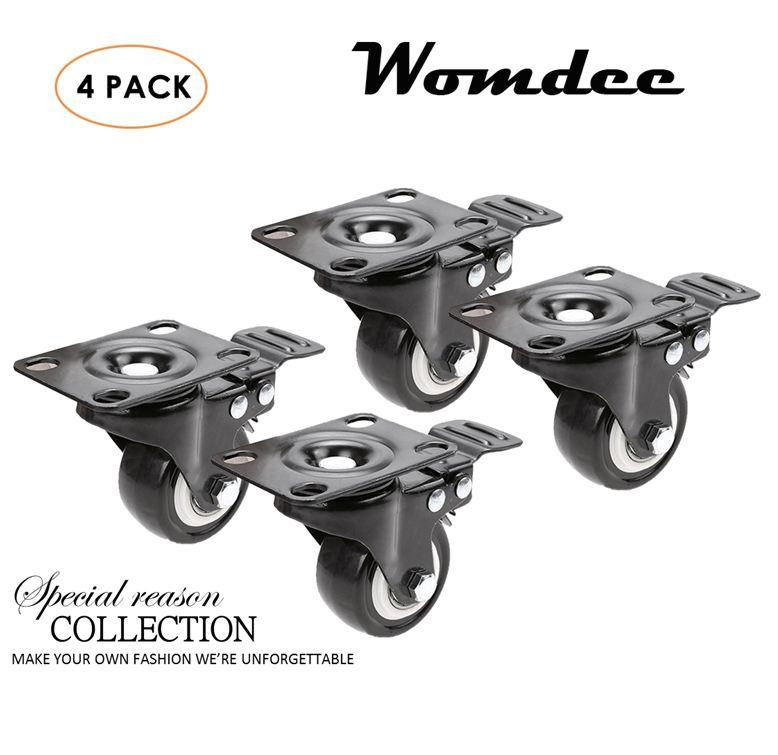 Womdee Brake Casters, Set Of 4 Wheel Swivel Plate Casters Wheels Lock The Top Plate And The Wheels Replacement For Ottoman, Coffee Table, Plant Stands, Bookshelves, Shoe Bins, Toy Bins, Shopping Carts(2) - intl