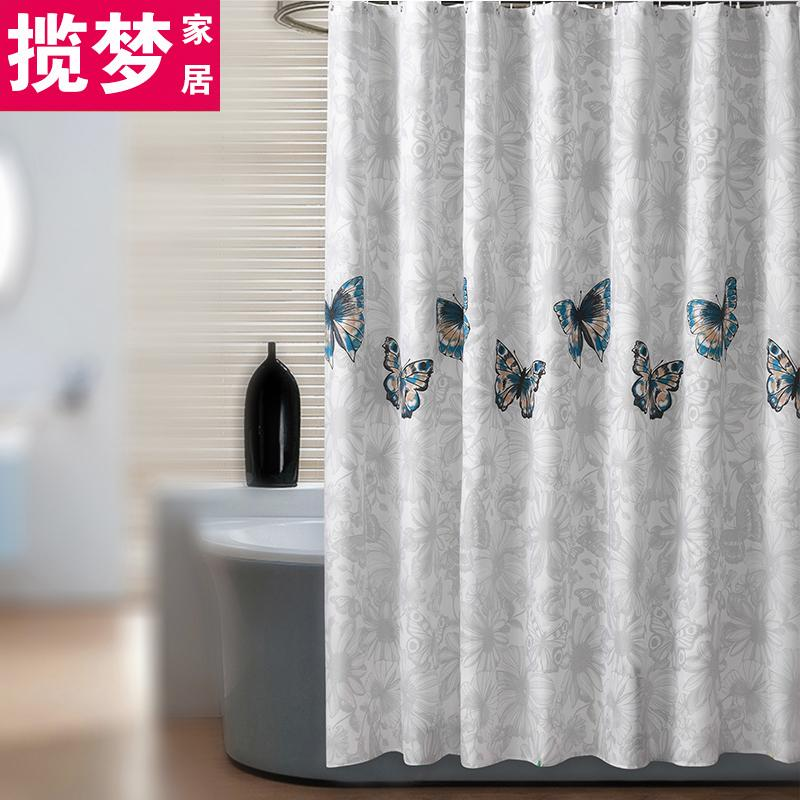 Buy Polyester Fabrics Punched Shower Curtain Butterfly Oem Cheap