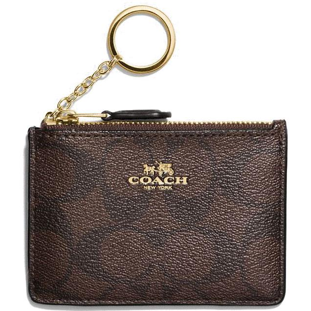 Coach Mini Skinny Id Case In Signature Coated Canvas Card case Black Brown # F16107 + Gift Receipt