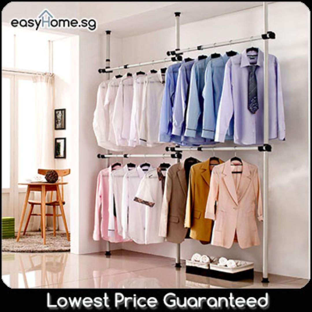 3204 Standing Pole Clothes Rack - Coat Stand Hanger Closet Wardrobe