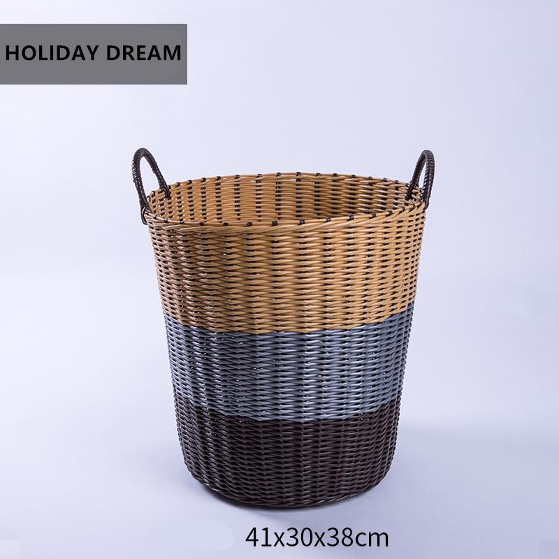 Hand-knitted extra large plastic hamper basket dirty clothes storage baskets clothing basket basket bathroom laundry basket plastic toys sundries storage basket
