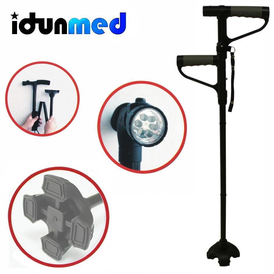 Best Rated Idunmed Portable Adjustable Walking Stick Foldable Crutch Cane With Led For Elderly