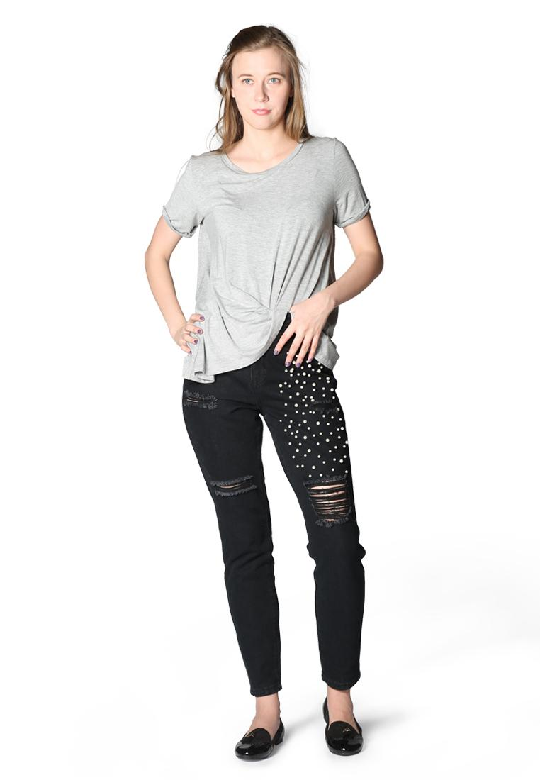 London Rag Women's Black Ripped and Pearl Stud Slim fit Jeans