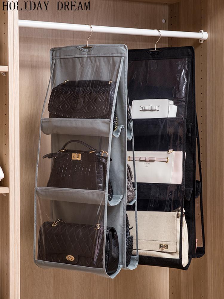 Bag storage bag wall hanging cloth home cabinet hanging wardrobe storage rack handbag dormitory artifact gray and black - intl