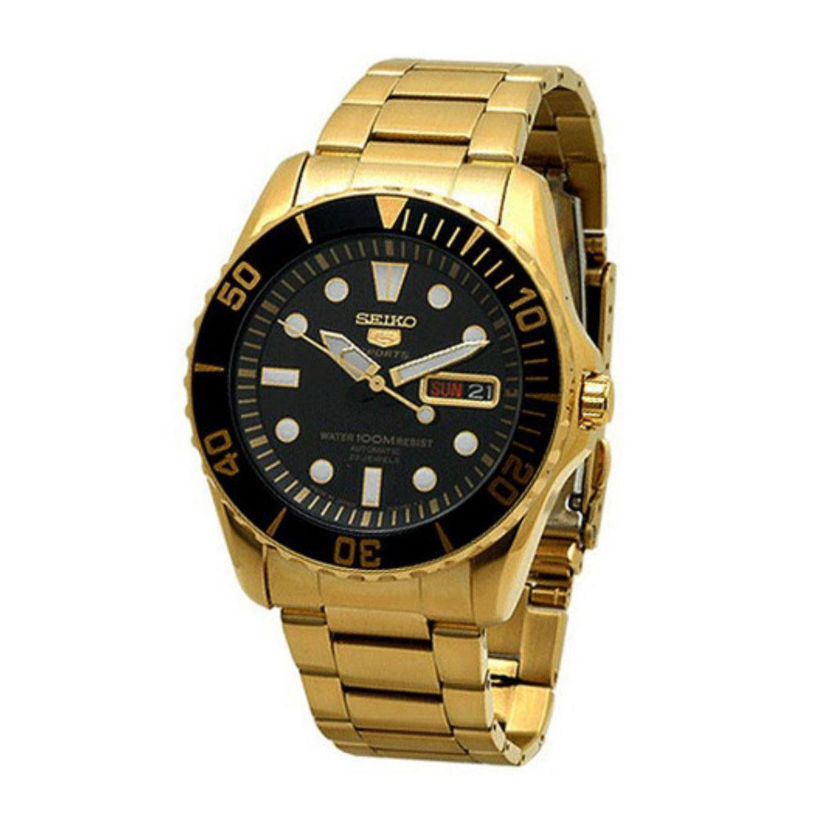 Seiko 5 Sports Gold Stainless-Steel Case Stainless-Steel Bracelet Mens JAPAN SNZF22J1