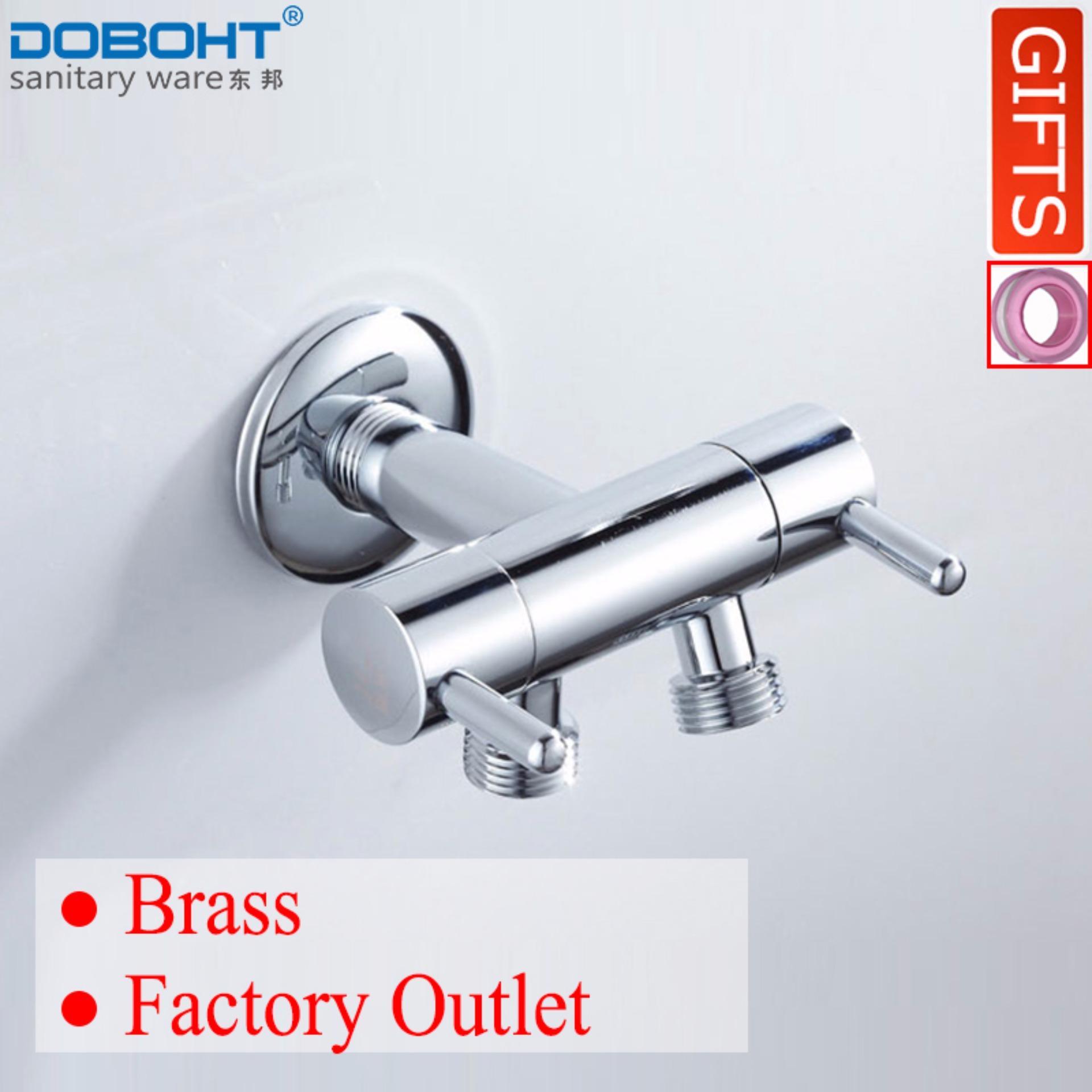 Best Buy Doboht Bathroom Cleaning Brass 2 G1 2 Spout Angle Valve For Toilet Shattaf Chrome Intl