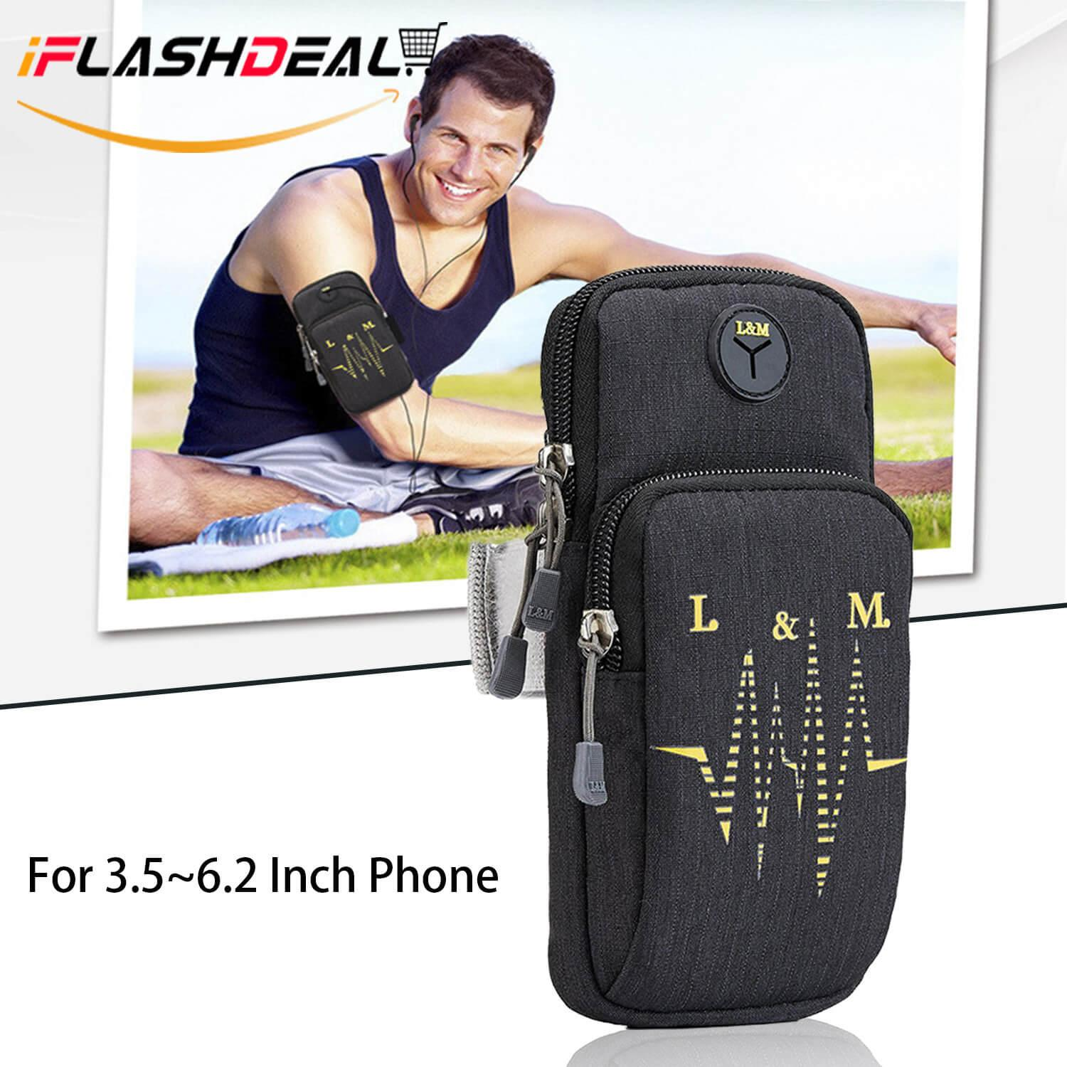 iFlashDeal Phone Arm Bands Sport Armband Mobile Phone Running Workout Outdoor Exercise Fitness Arm Bag Waist