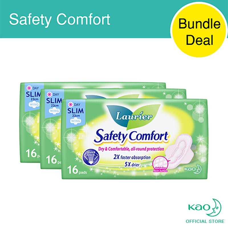 Cheapest Laurier Safety Comfort Day Slim Wings 22Cm 16Pcs Triple Pack