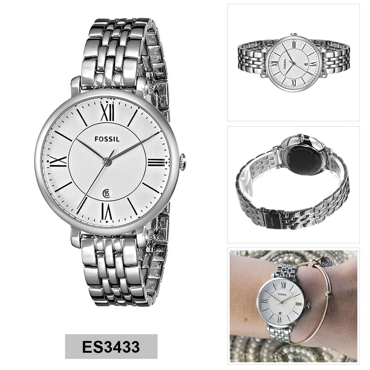Review Fossil Watch Jacqueline Silver Stainless Steel Case Stainless Steel Bracelet Ladies Es3433 Fossil