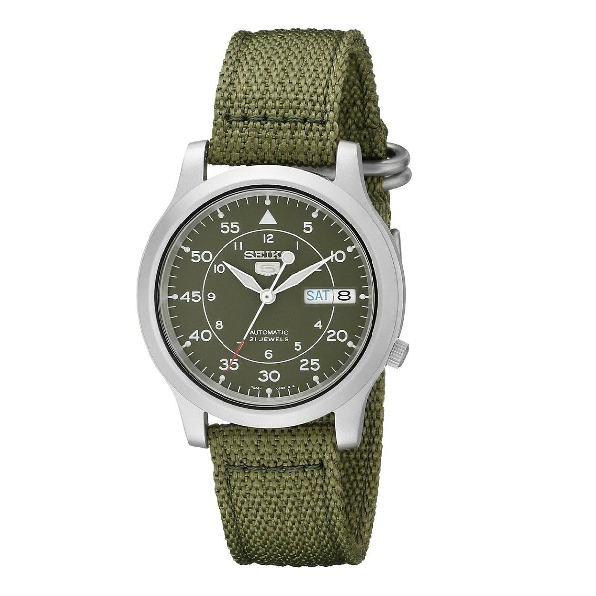 Best Reviews Of Seiko Seiko 5 Automatic Green Stainless Steel Case Nylon Strap Mens Snk805K2