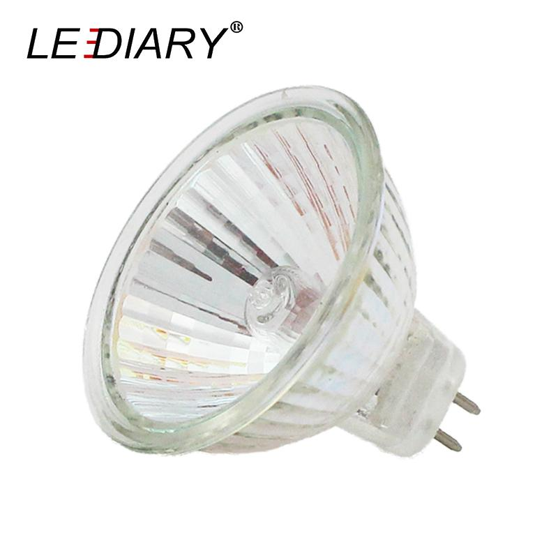 LEDIARY 10PCS/Lot Dimmable MR16 JCDR GU5.3 Halogen Spot Light 12V/220V 20/35/50W High Lumens Halogen Bulb Cup Shape Lamp Clear Glass