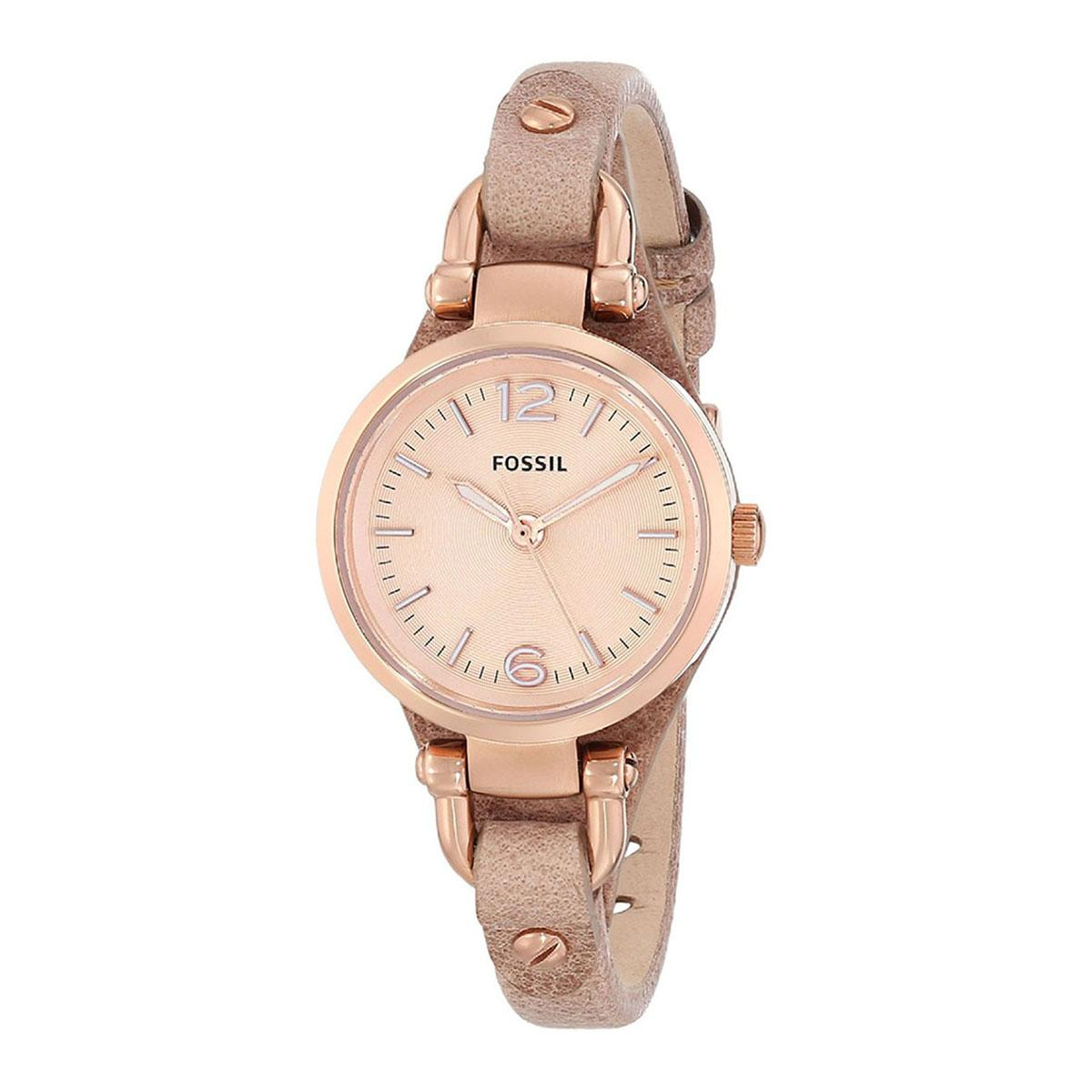 Retail Price Fossil Watch Georgia Brown Stainless Steel Case Leather Strap Ladies Es3262