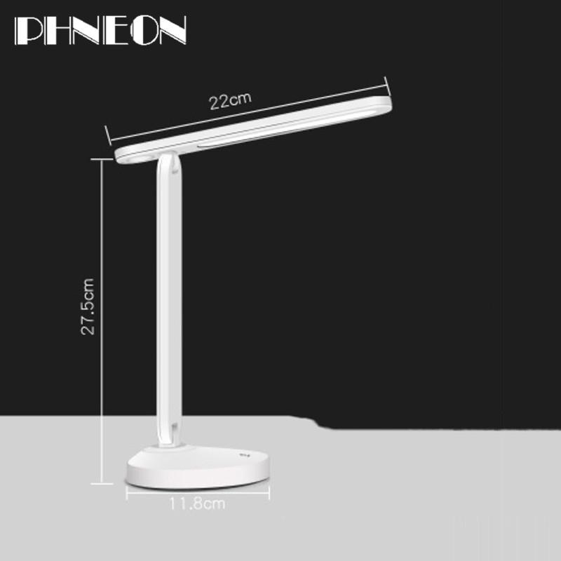 PHNEON Woodpow Rechargable Led Desk Lamp Flexible Table Lamp 3 Level Dimmable Night Book Light With Usb Cable 2000mah Battery Inside