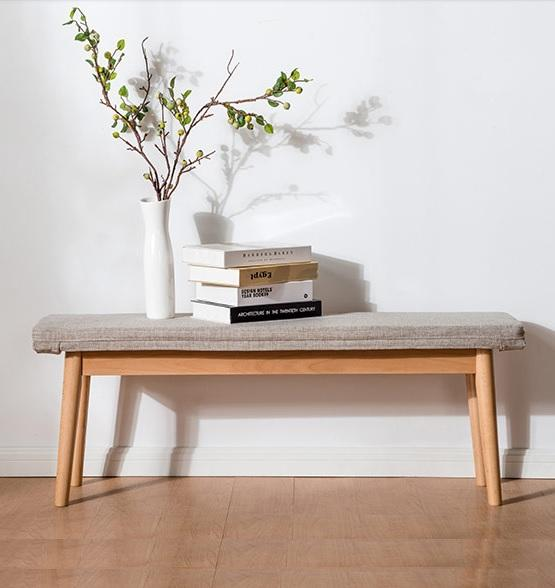 115cm Solid Wood Bench Linen Grey Washable Cushion
