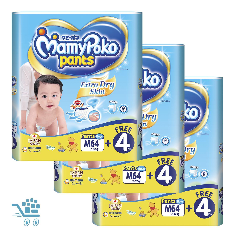 Sale Mamypoko Pants Extra Dry Skin Bonus Pack B M64 4 Pieces X 3 Packs Mamypoko Wholesaler