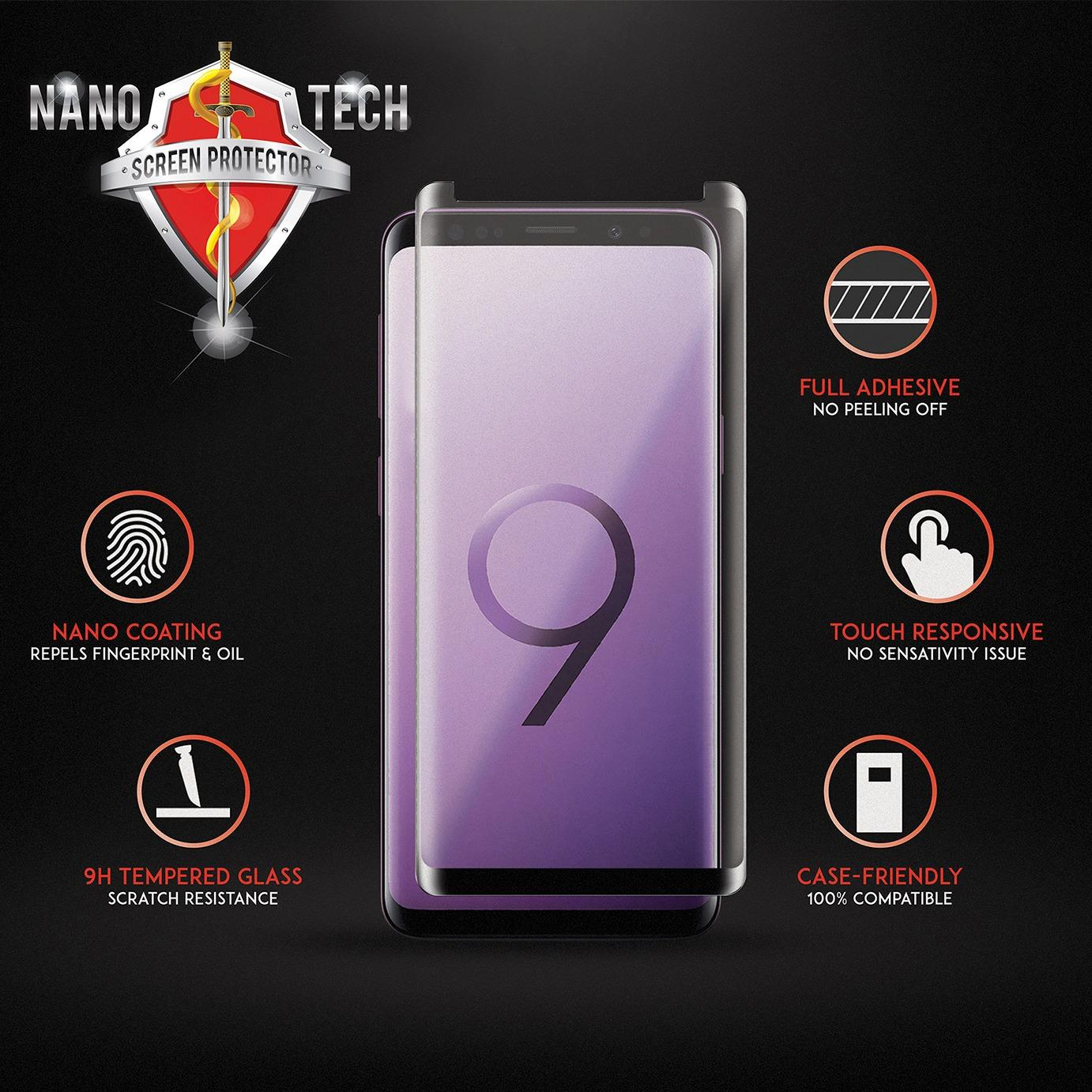 Nanotech Samsung Galaxy S9 /S9 Plus/Note 8/S8/S8 Plus Full Adhesive Curved Tempered Glass
