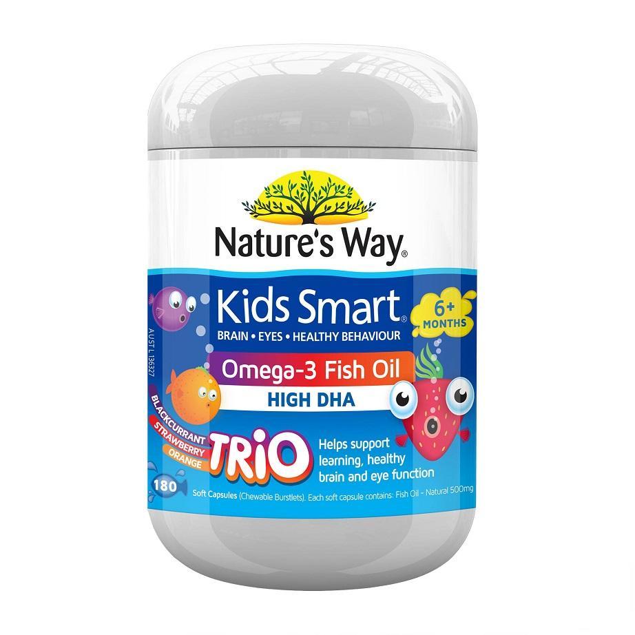 Brand New Natures Way Kids Smart Omega 3 Fish Oil Trio 180 Capsules