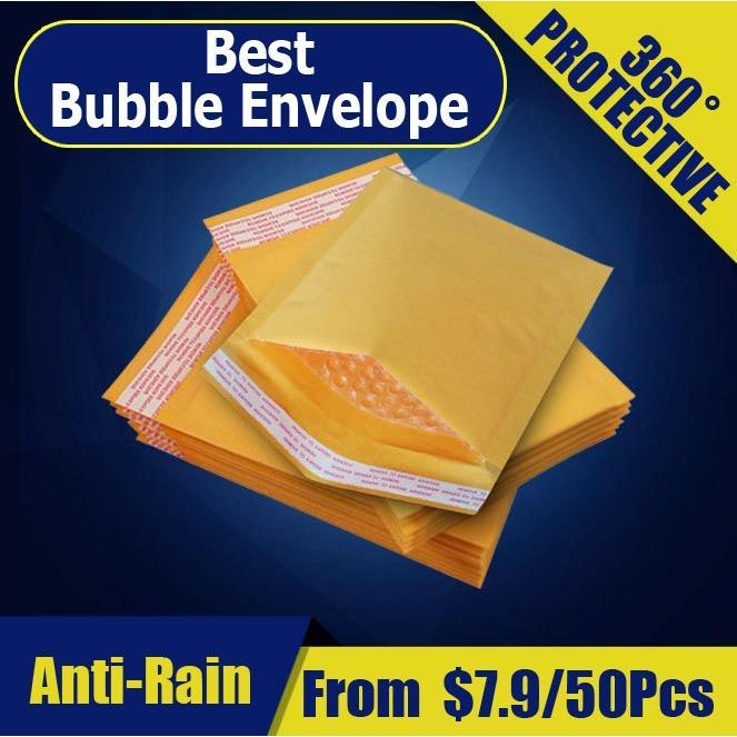 Cheaper 【 29Cm X 36Cm 】【 50Pcs 】Yellow Kraft Paper Bubble Wrap Envelope Packaging Materia Bubble Envelope Tape Courier Bag
