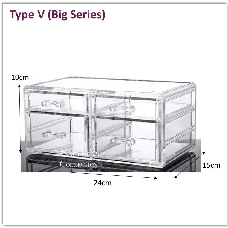 Coupon Type V Big Series Stackable Acrylic Cosmetic Organizer Clear Transparent Makeup Organiser Jewelry Storage Box Drawer Lipstick Brush Holder Nail Varnish Polish Case Container