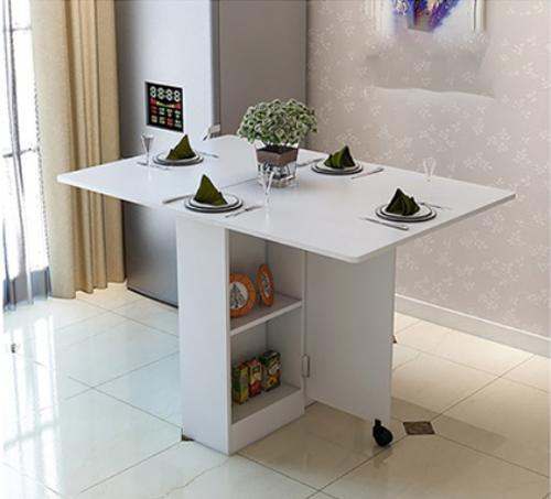 Dual Coloured Polished Edged Maison Table Set with Black Stools (1+4) [Free Installation]