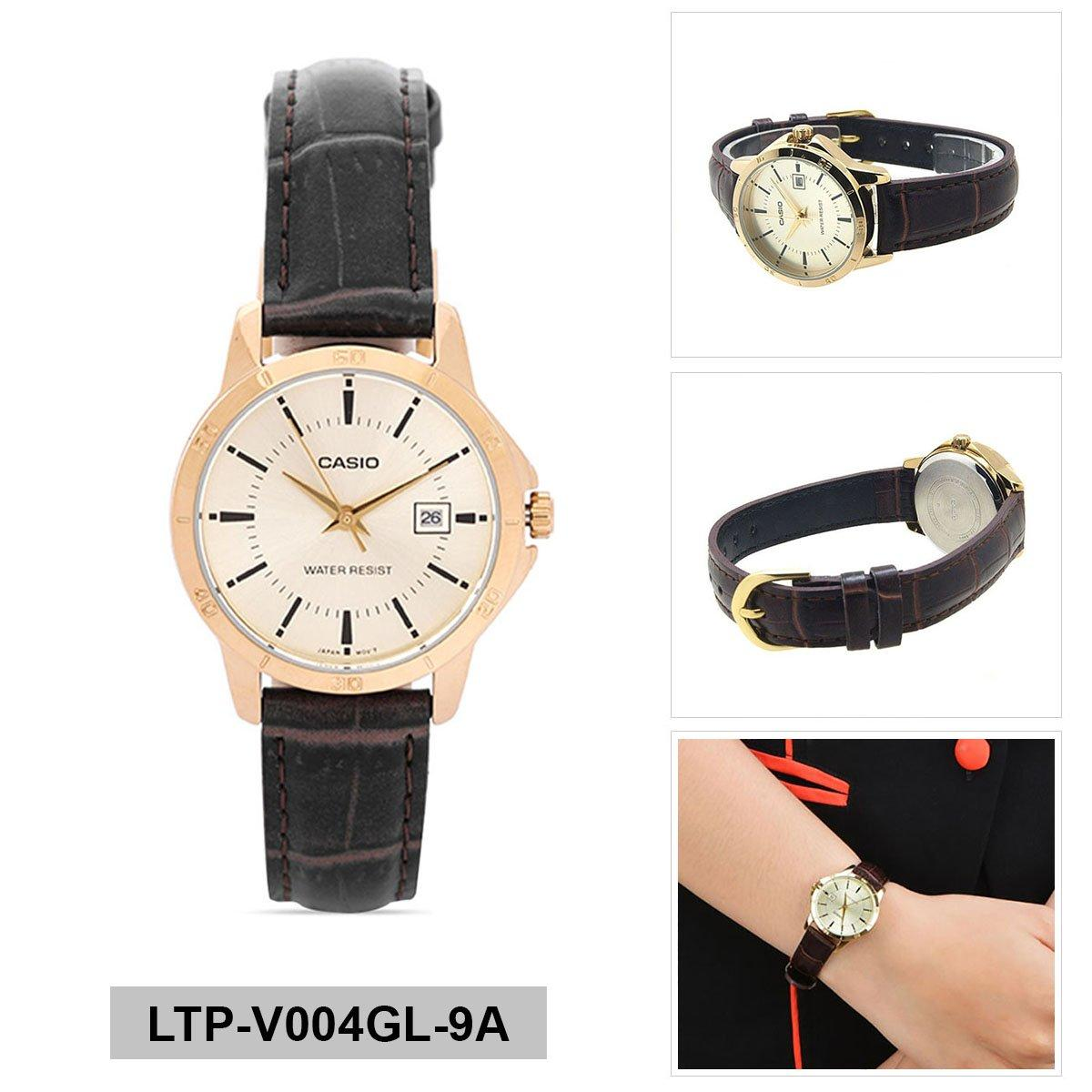 Where To Buy Casio Casio Standard Brown Stainless Steel Case Leather Strap Ladies Ltp V004Gl 9A