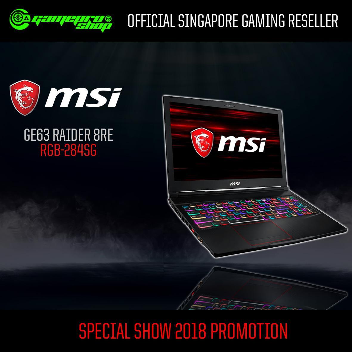 MSI GE63 Raider 8RE RGB-284SG (I7-8750H/16GB DDR4/256GB SSD+1TB HDD 7200RPM/6GB NVIDIA GTX1060 GDDR5/15.6FHD 120Hz/W10)