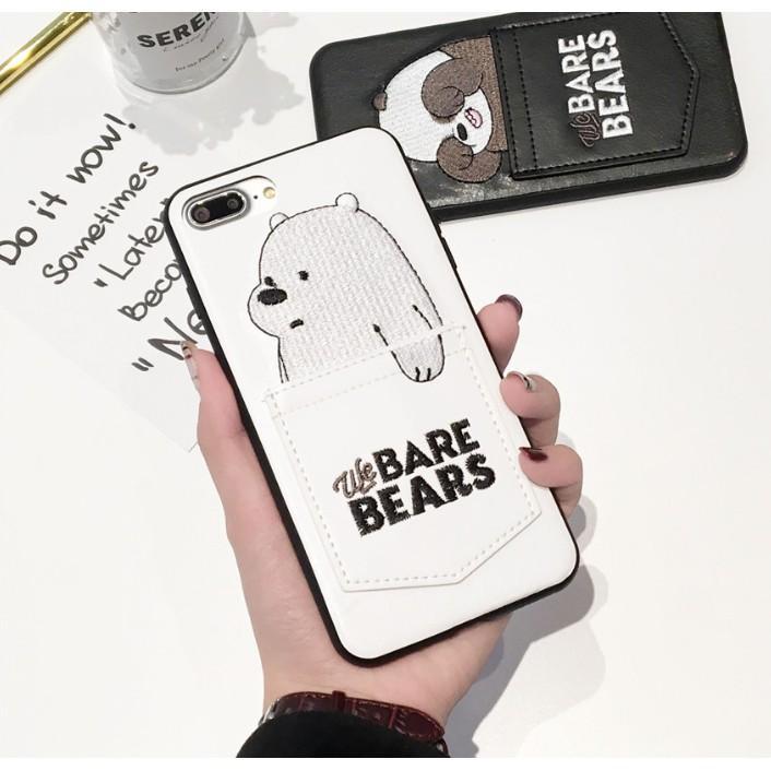Beruang Kartun Lucu Bordir Kulit Casing Ponsel dengan Saku Kartu untuk iPhone Spesifikasi: Iphone 8G/7G (4.7)