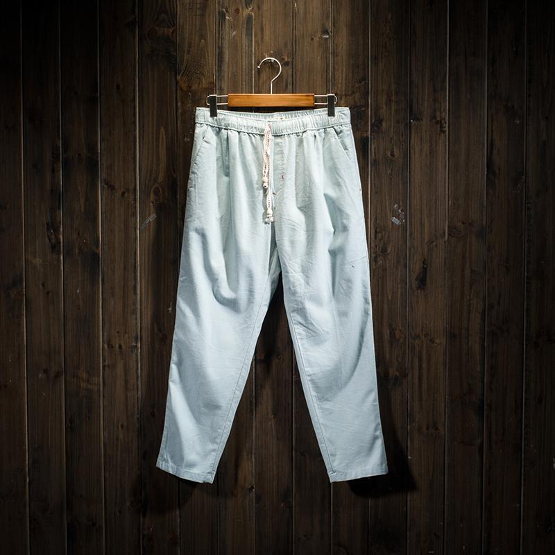 Japanese Style Linen Solid Color Men Ankle Length Pants Best Buy