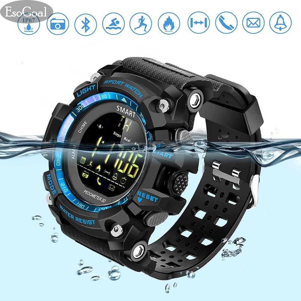 New Esogoal Sports Smart Watch Bluetooth Watch Pedometer Fitness Tracker Wearable Technology Ip67 Waterproof Remote Camera Running Equipment For Android And Ios Smartphones Best Choice For Men And Boys Black