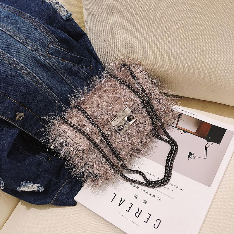 Gadis tas tangan kecil 2018 musim gugur model baru Gaya Korea modis Bulu Burung Unta Tas