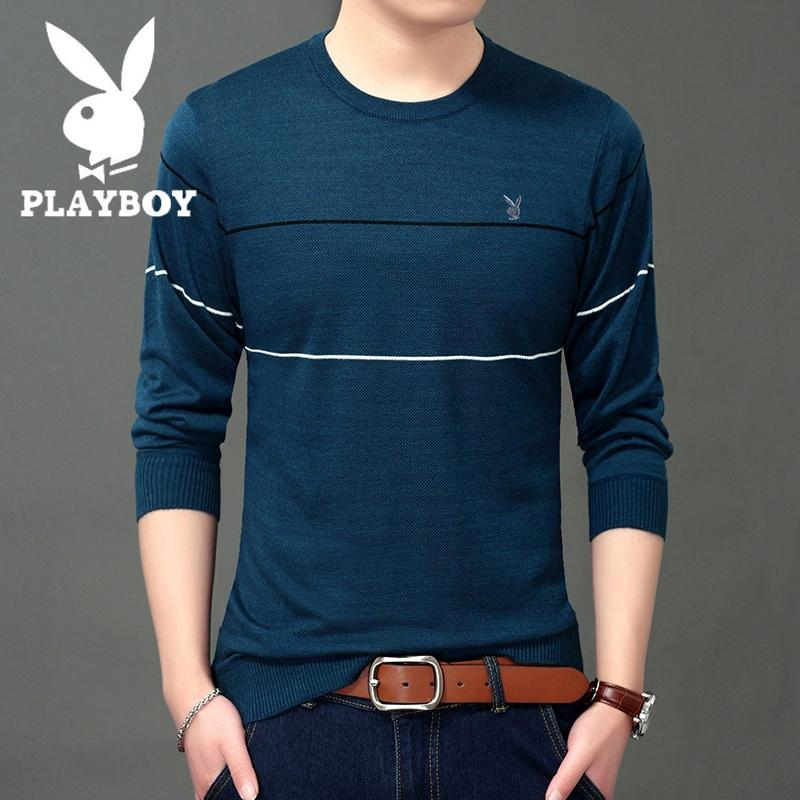 PLAYBOY musim gugur Trendi Pria kaos lengan panjang pria kerah bulat model tipis hitam Baju Dalaman