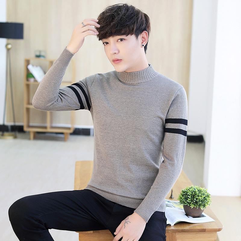 Kemeja Rajut Produk Baru Musim Gugur Sweter Pria Leher Bulat
