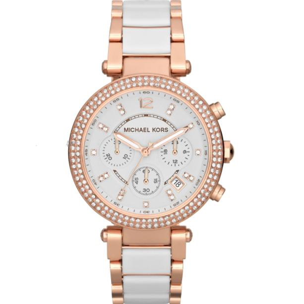 Michael Kors Parker Chronograph Womens White/rose Gold Stainless Steel Watch Mk5774 By Watch Centre.