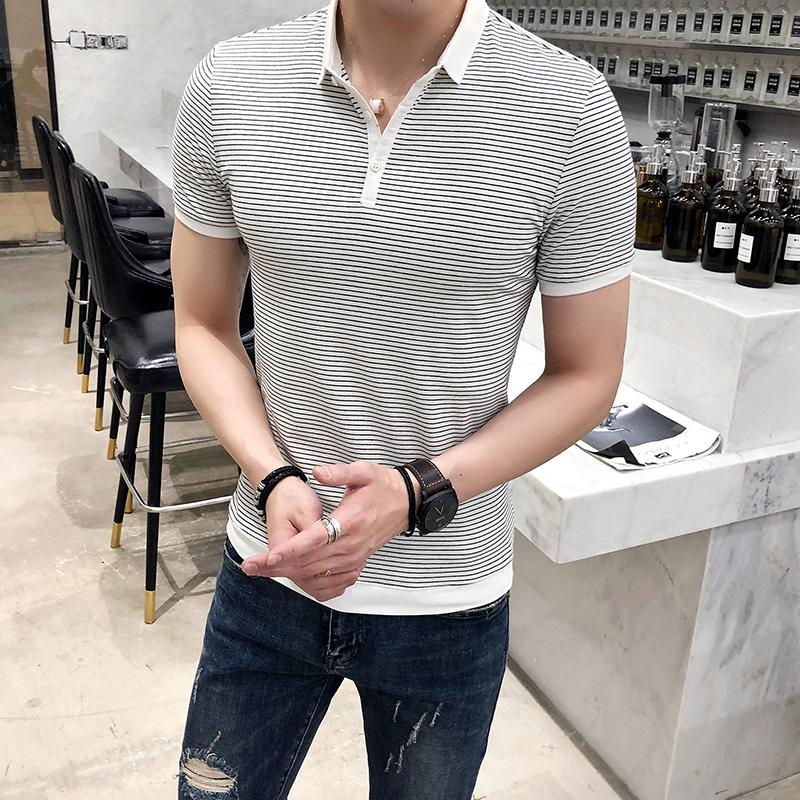 Buy Youth Fold Down Collar Striped Short Sleeve Polo T Shirt China