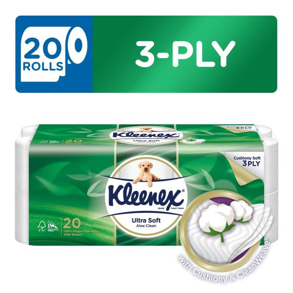 Kleenex Clean Care Bath Tissue Aloe Vera 20x200sheets.