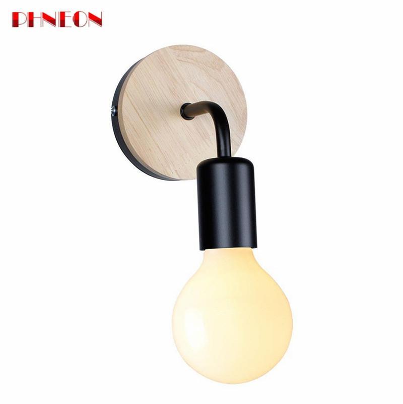 PHNEON Modern Northern Europe Vintage Wood Metal Wall Lamp Industrial Indoor Lighting Bedside Lamps Led Wall Industrial Indoor Light