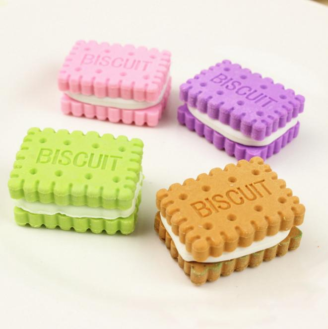 Mua 4Pcs/set Cute Creative Novelty Stationery Colorful Biscuit Eraser Student Teaching Office Stationery Korean-style Stationery - intl