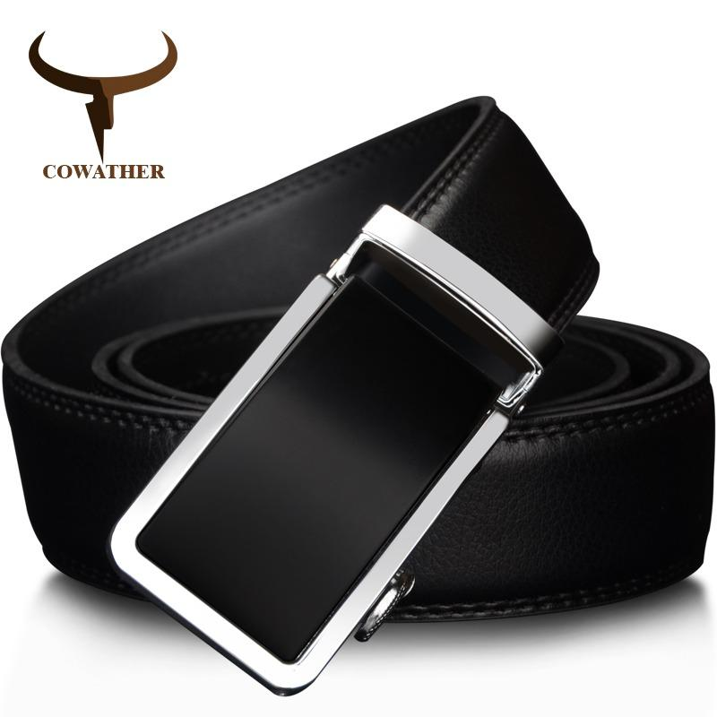 Cowather Men S Belt 100 Cow Leather Reversible Belts For Men With Business Automatic Alloy Buckle Strap Belt Causal Ratchet Belts Size For 28 44 Inches Free Shipping