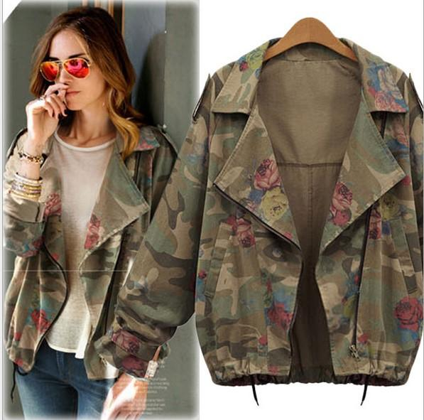 Latest Women Leisure Coat Camouflage Jacket Ladies Outwear Clothes