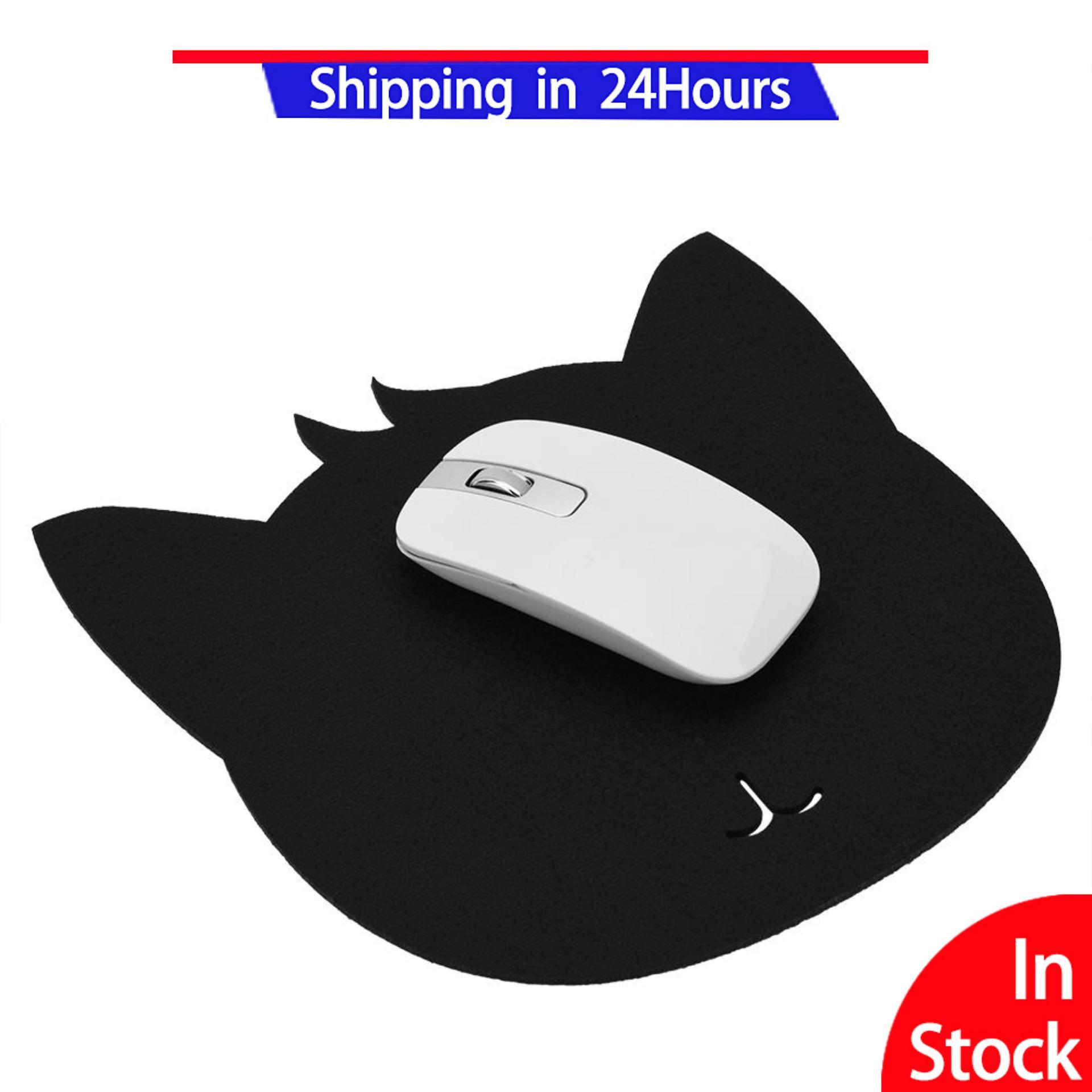 Cat Shape Anti-static Felts Table Mouse Pad Dust-proof Desk Pads Black - intl