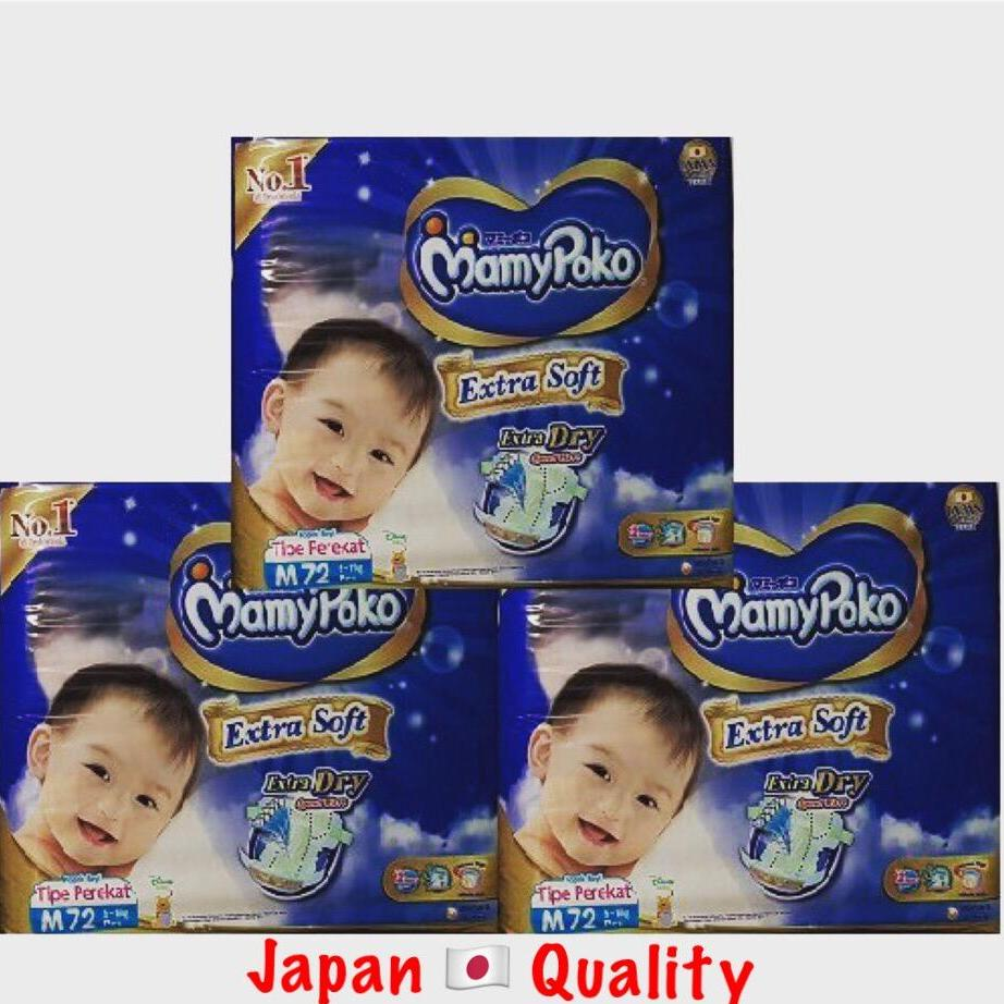 Sale New Mamypoko Mamy Poko Extra Dry Soft Diapers Size M 72 X 3 Packets Online Singapore