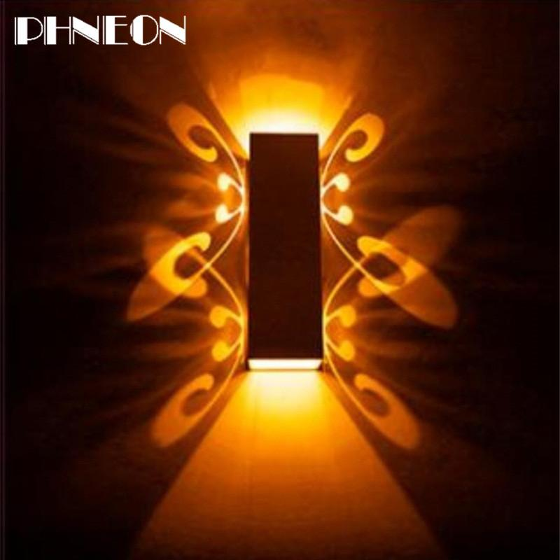 PHNEON 2w 6w Led Wall Lamp Sconce Lights Double Batteryfly Aluminum Fixture Up And Down Modern Ac85-265v For Home Hotel Ktv Bar Iq