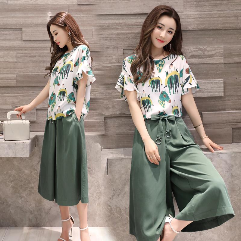 Large Size Dress Wide Leg Pants Set 2018 New Style Korean Style Summer Short -sleeved 4bcc87fb8f6b