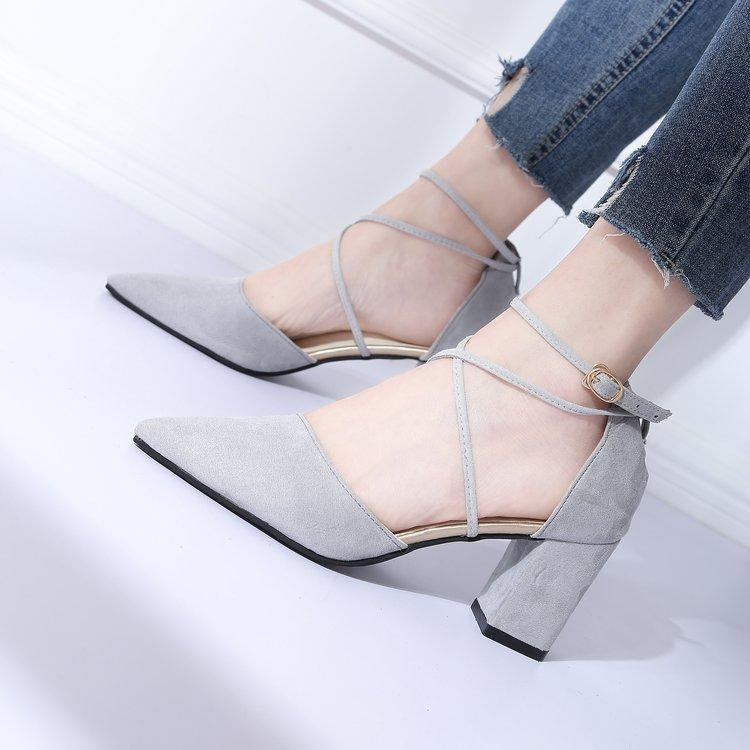 2019 Spring New Style Korean Style Versatile Bandage Cloth Suede High Heels  Shoe Block Heel Straight 6b1705cb8ed2
