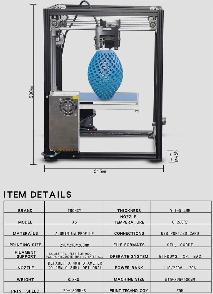 Tronxy Metal 3D Printer,DIY 3D Printer, Desktop 3D Drinter, Print  Size210*210*280M,Support 1 75mm PLA/ABS/Wood PLA/Flexible Filament ect -  intl