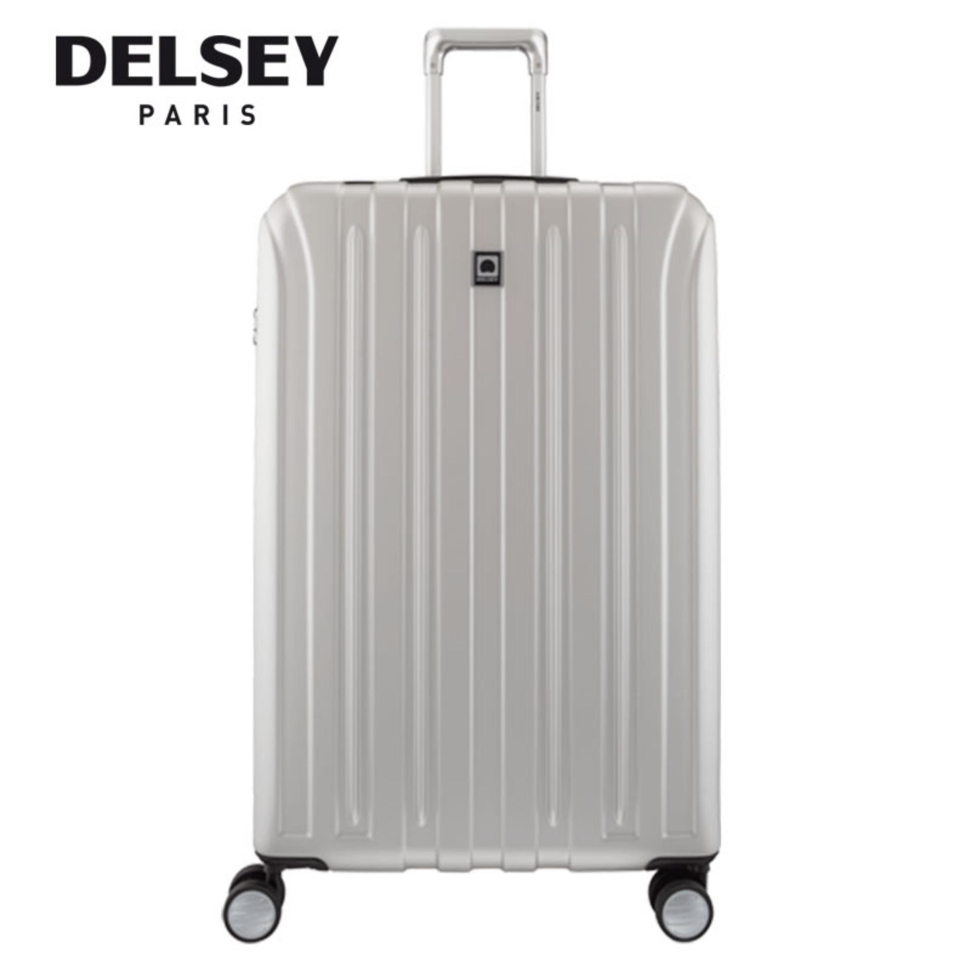 Delsey Paris Vavin 82Cm 4 Wheel Expandable Hard Case Trolley With Tsa Silver Red Free Shipping