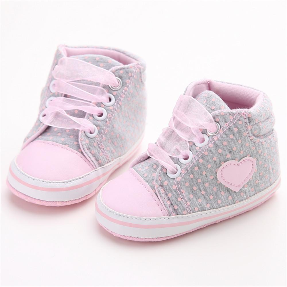 Infant Newborn Baby Girls Polka Dots Heart Autumn Lace-Up First Walkers Sneakers Shoes Toddler