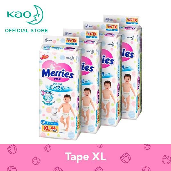 Merries Tape Diapers XL44s x 4 packs (12 - 20 kg)
