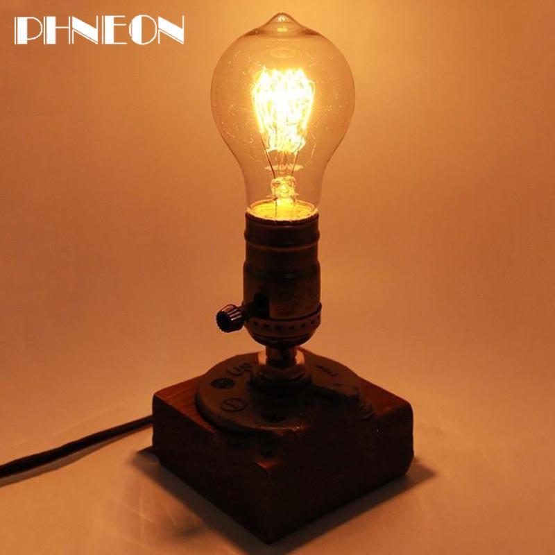 PHNEON Retro Coffee Shop Table Lamp Wood Vintage Desk Lamp Dimmable 40w Edison Bulb 220v Bedroom Bar Table Light Desk Light Wooden